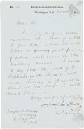 "Autographs:Inventors, Joseph Henry Letter Signed. One page, 5.5"" x 8.5"", Washington, D.C., November 7, 1857, on Smithsonian Institution letterhead..."