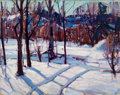 Fine Art - Painting, American:Modern  (1900 1949)  , CARL W. PETERS (American, 1897-1980). Tracks Thru the Snow. Oil on canvas laid on board . 16 x 20 inches (40.6 x 50.8 cm...