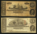 Confederate Notes:1863 Issues, T58 and T67 $20's.. ... (Total: 2 notes)