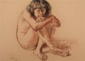 Fine Art - Work on Paper:Drawing, FRANCISCO ZÚÑIGA (Mexican, 1912-1998). Niña Mirando, 1974.Charcoal and pastel on paper . 18 x 25-1/2 inches (45.7 x 64....