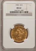 Liberty Eagles: , 1905 $10 MS62 NGC. NGC Census: (674/392). PCGS Population(484/308). Mintage: 200,900. Numismedia Wsl. Price for problemfr...