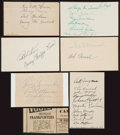 Baseball Collectibles:Others, Circa 1930's Major League Baseball Multi Signed Index Cards Lot of8. ...