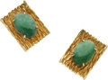 Estate Jewelry:Earrings, Jade, Gold Earrings. ...