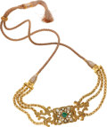 Estate Jewelry:Necklaces, Green & White Stone, Gold Necklace. ...