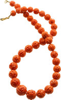 Estate Jewelry:Necklaces, Coral Bead Necklace. ...
