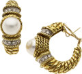 Estate Jewelry:Earrings, Mabe Pearl, Diamond, Gold Earrings, Cassis. ...