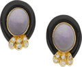 Estate Jewelry:Earrings, Lavender Jade, Black Onyx, Diamond, Gold Earrings. ...