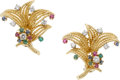 Estate Jewelry:Earrings, Diamond, Ruby, Sapphire, Emerald, Gold Earrings. ...