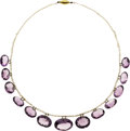 Estate Jewelry:Necklaces, Amethyst, Freshwater Cultured Pearl, Gold Necklace. ...