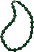 Estate Jewelry:Necklaces, Jade Bead, Gold Necklace. ...
