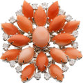Estate Jewelry:Rings, Coral, Diamond, White Gold Ring, Zydo. ...