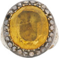 Estate Jewelry:Rings, Gentleman's Citrine, Diamond, Gold Ring. ...