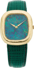 Estate Jewelry:Watches, Swiss Gent's Gold, Leather Strap Wristwatch, circa 1980. ...