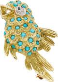 Estate Jewelry:Brooches - Pins, Turquoise, Sapphire, Diamond, Gold Brooch. ...