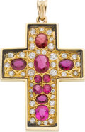 Estate Jewelry:Pendants and Lockets, Ruby, Diamond, Gold Pendant. ...