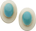 Estate Jewelry:Earrings, Ivory, Turquoise, Gold Earrings. ...