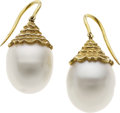 Estate Jewelry:Earrings, South Sea Cultured Pearl, Gold Earrings. ...