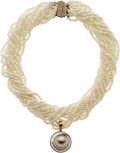 Estate Jewelry:Pearls, Cultured Pearl, Mabe Pearl, Diamond, Gold Enhancer-Necklace. ...