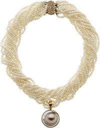 Cultured Pearl, Mabe Pearl, Diamond, Gold Enhancer-Necklace