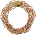 Estate Jewelry:Necklaces, Cultured Pearl, Gold Necklace, Elizabeth Locke. ...