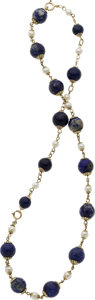 Estate Jewelry:Necklaces, Lapis Lazuli, Cultured Pearl, Gold Necklace. ...