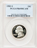 Proof Washington Quarters: , 1982-S 25C PR69 Deep Cameo PCGS. PCGS Population (2922/94). NGCCensus: (533/41). Numismedia Wsl. Price for problem free N...