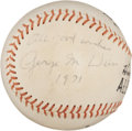 Autographs:Baseballs, 1971 George Weiss Single Signed Baseball....