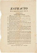 "Miscellaneous:Broadside, Cholera Morbus Broadside: ""Estracto De la instruccionpopular sobre la colera morbo."" Single sheet, 8.75"" x 12.25"". ..."