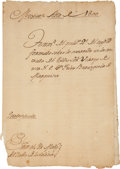 Autographs:Non-American, [Félix Berenguer de Marquina] Transcript of the Proceedings of theArrival of Félix Berenguer de Marquina as Viceroy of New Sp...