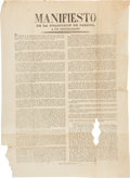 "Miscellaneous:Broadside, Manuel Paredes y Arrillaga: ""Manifiesto de la Guarnicion deJalisco, a sus Conciudadanos."" Oversized broadside, 13"" x 17.5""...."