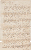 Autographs:Statesmen, Thomas F. McKinney Land Deed Signed for land granted to one ofStephen F. Austin's Old Three Hundred families. Two pages...