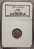 Coins of Hawaii: , 1883 10C Hawaii Ten Cents AU58 NGC. NGC Census: (41/108). PCGS Population (34/133). Mintage: 250,000. (#10979). From The...
