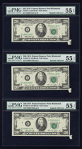 Error Notes:Foldovers, Fr. 2071-E $20 1974 Federal Reserve Notes. Three ConsecutiveExamples. PMG About Uncirculated 55 EPQ.. ... (Total: 3 notes)