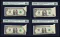 Error Notes:Foldovers, Fr. 1914-J $1 1988 Federal Reserve Notes. Four ConsecutiveExamples. . ... (Total: 4 notes)