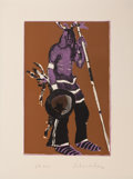 Prints:American, The Collection of Paul Gregory and Janet Gaynor. FRITZSCHOLDER (American, 1937-2005). Indian with Staff.Serigrap...