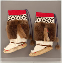 The Collection of Paul Gregory and Janet Gaynor  A PAIR OF ALASKAN ESKIMO MUKLUKS Napasak, 20th c