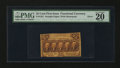 Fractional Currency:First Issue, Fr. 1281 25¢ Gutter Fold Error First Issue PMG Very Fine 20.. ...