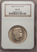 Coins of Hawaii: , 1883 50C Hawaii Half Dollar AU58 NGC. NGC Census: (53/147). PCGSPopulation (41/210). Mintage: 700,000. (#10991). From T...