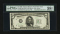 Error Notes:Obstruction Errors, Fr. 1961-B $5 1950 Wide Federal Reserve Note. PMG Choice About Unc58 EPQ.. ...