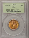 Liberty Half Eagles: , 1885-S $5 MS60 PCGS. PCGS Population (106/2048). NGC Census: (78/3333). Mintage: 1,211,500. Numismedia Wsl. Price for probl...
