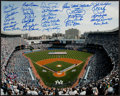 Baseball Collectibles:Photos, New York Yankees Stars Multi Signed Oversized Photograph....