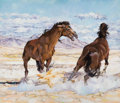 Fine Art - Painting, American:Contemporary   (1950 to present)  , The Collection of Paul Gregory and Janet Gaynor. JACK BAKER(American, b. 1925). Horses. Oil on canvas. 29 x 34 in...