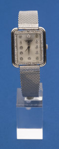Timepieces:Wristwatch, Longines 14k White Gold Diamond Dial Diamond Bezel Wristwatch WithGold Filled Band. ...