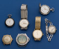 Timepieces:Pocket (post 1900), A Lot of Seven Running Wristwatches & Pocket Watches. ... (Total: 7 Items)