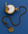 Timepieces:Pocket (post 1900), Arnex Hebdomas Exposed Balance Gold Tone Pocket Watch With Chain....