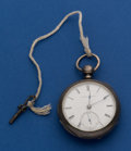 Timepieces:Pocket (pre 1900) , Elgin National Early Sterling 18 Size Key Pocket Watch Wing No.167656. ...