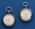 Timepieces:Pocket (pre 1900) , Two Waltham 18 Size Key Wind Pocket Watches. ...
