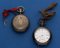 Timepieces:Pocket (post 1900), Two Elgin Silver 18 Size Pocket Watches One Key Wind ForRestoration One Running 15 Jewel Open Face Stem Wind. ... (Total: 2Items)