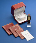 Timepieces:Wristwatch, Cartier Gents Gold On Silver Tank Wristwatch With Box & Papers. ...