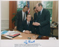 Baseball Collectibles:Photos, George H.W. Bush Signed Photograph (Stan Musial Pictured)....